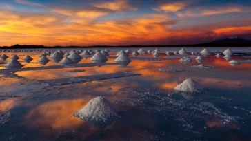 Salar de Uyuni, Bolivia - Sunset Photo Wallpaper