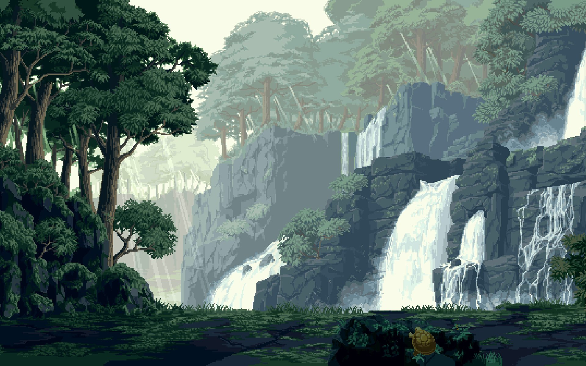 waterfall scenery pixel art wallpaper