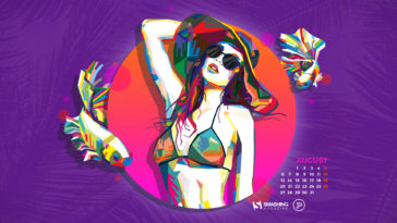 Summer Purple Haze August 2018 Calendar HD Desktop