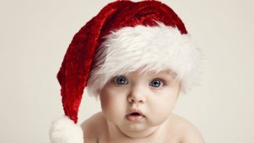 Cute Baby Photo with Santa Hat High Quality Wallpaper