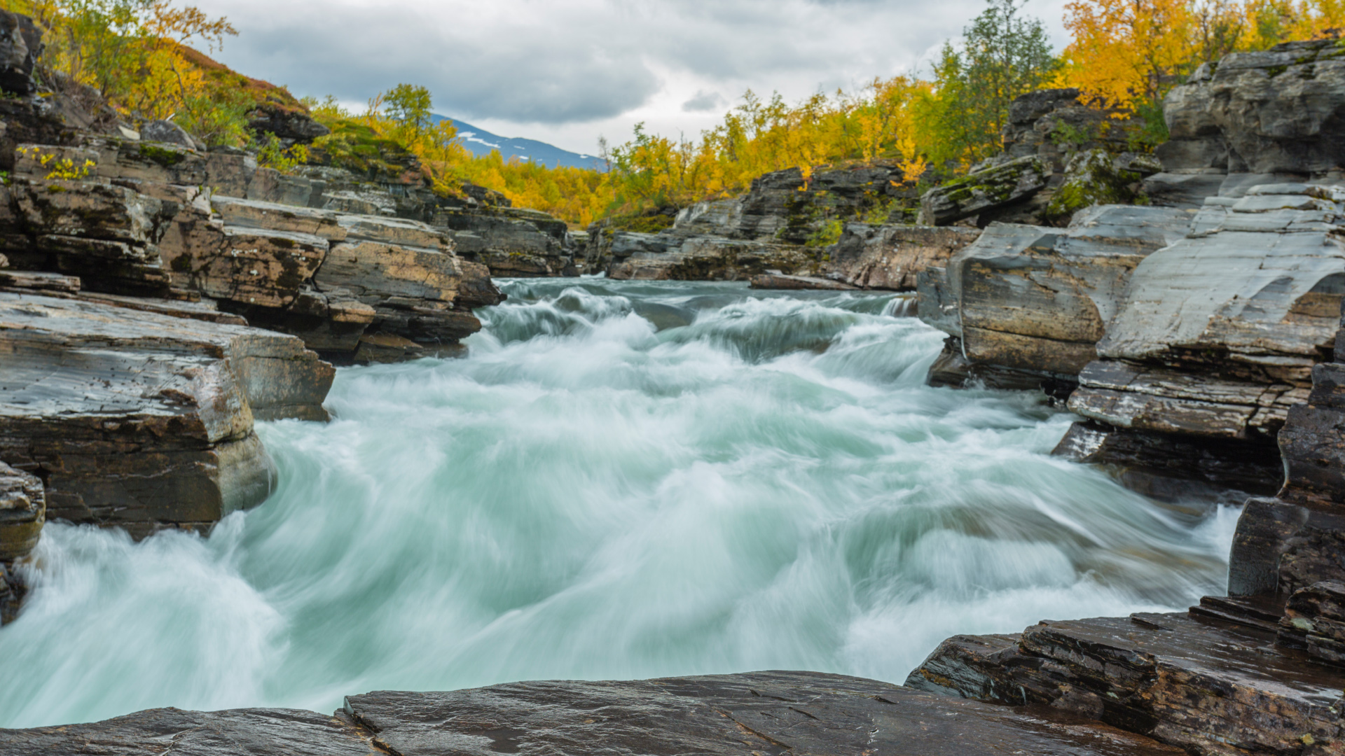 Autumn Waterfall in Sweden Photography Wallpapers