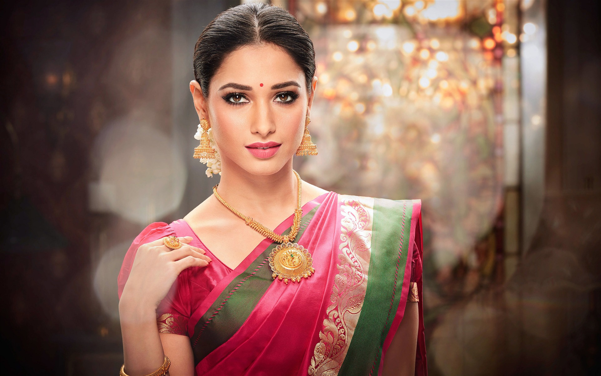 Beautiful Tamanna Pink Saree Makeup Photo Wallpaper HD