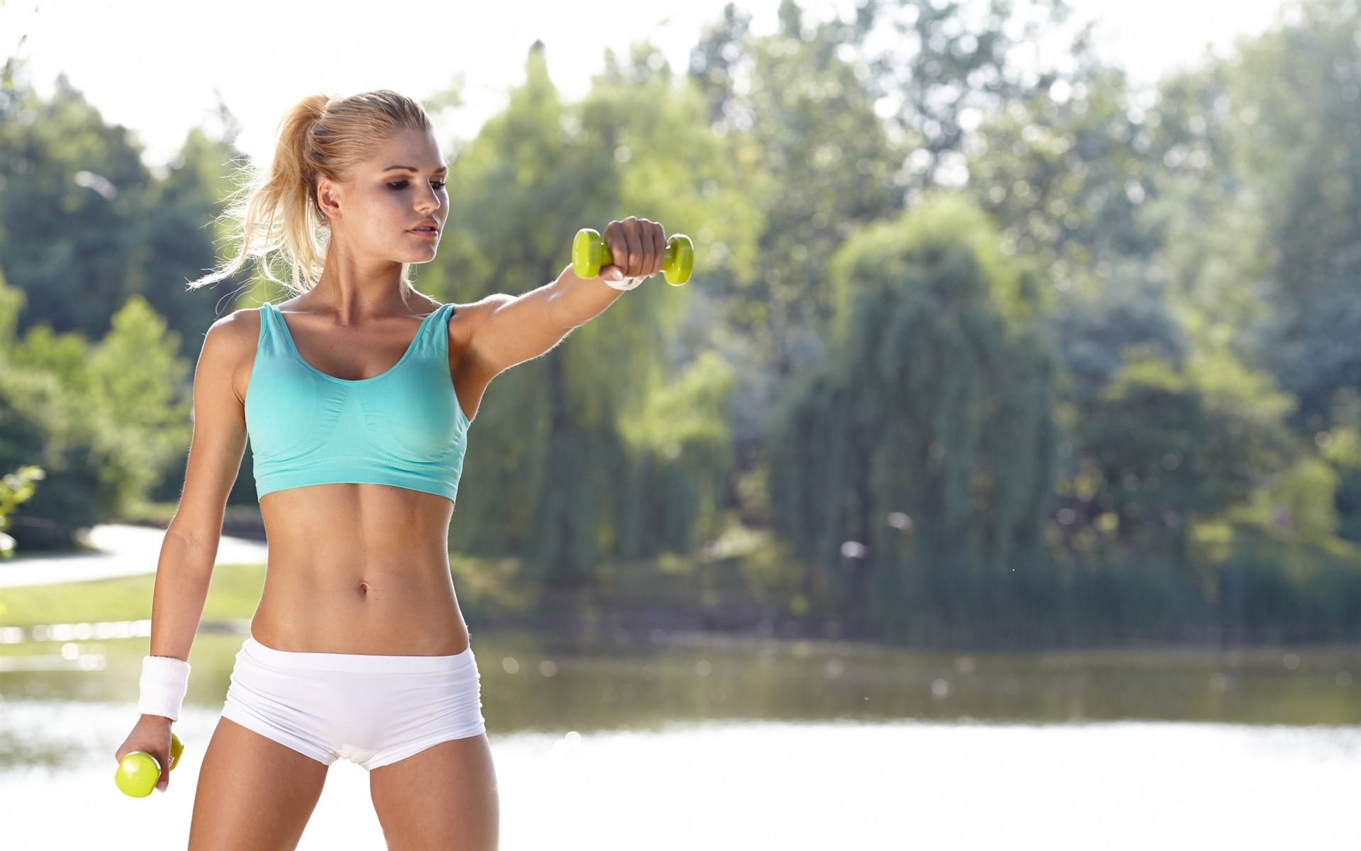 Blonde girl fitness workout at park photograph Wallpaper 1920x1200