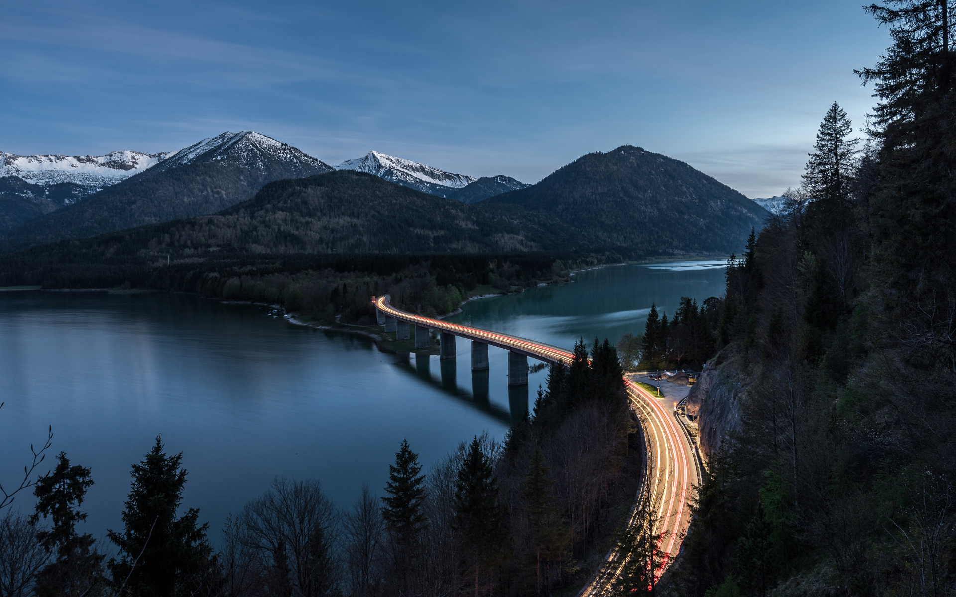 Bridge at Lake Sylvenstein Photography HD Wallpapers