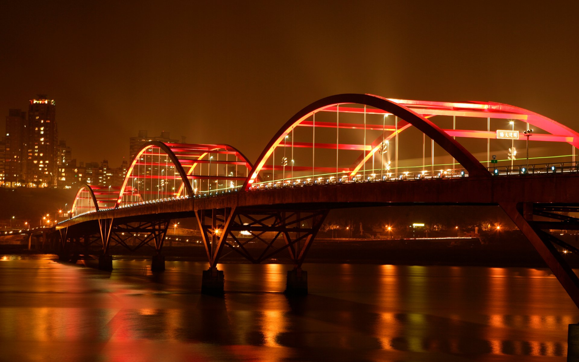 Bridge with Lights over River at Night Photos HD Wallpapers