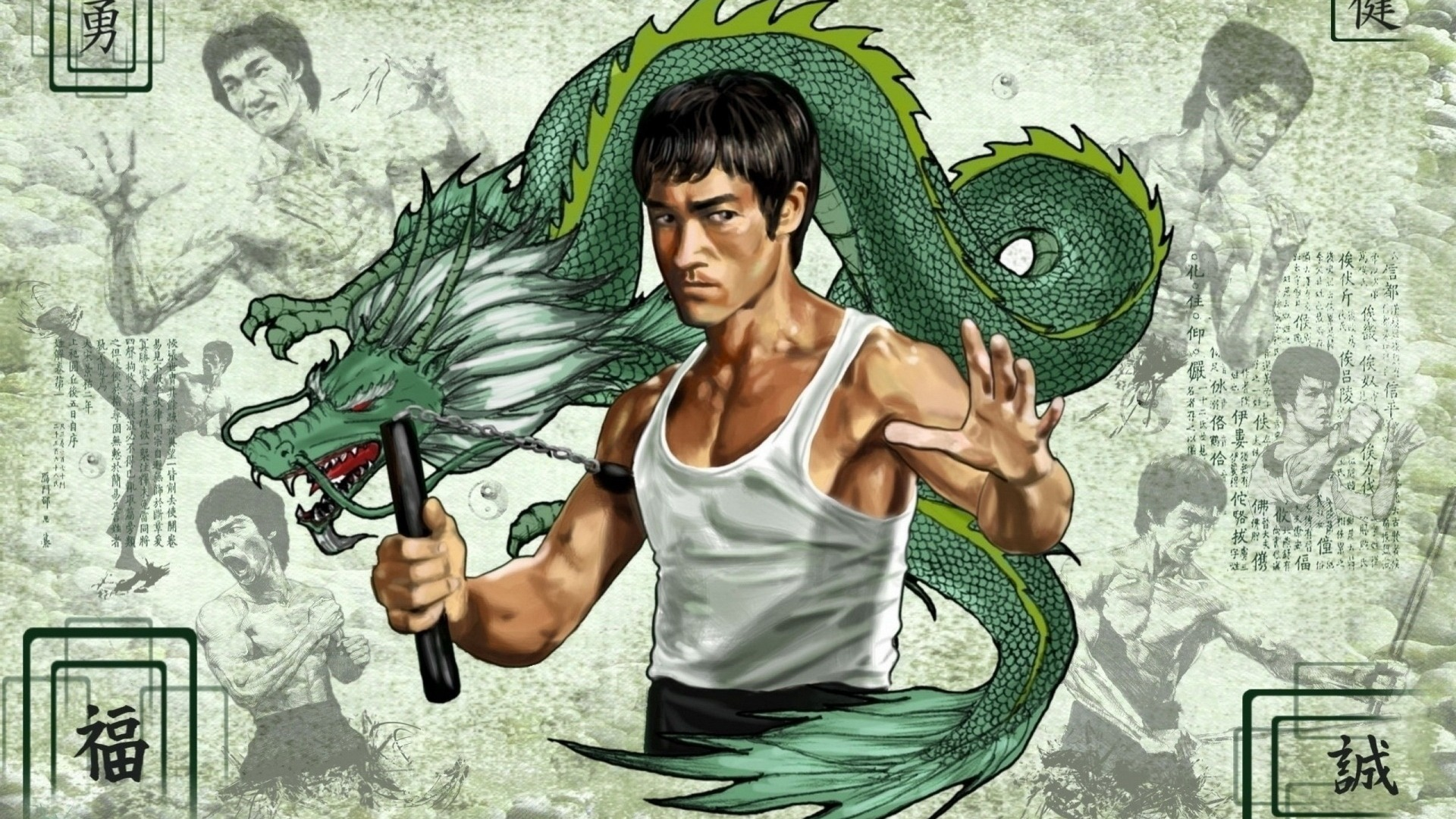 Bruce Lee Digital Art Wallpaper 1920x1080
