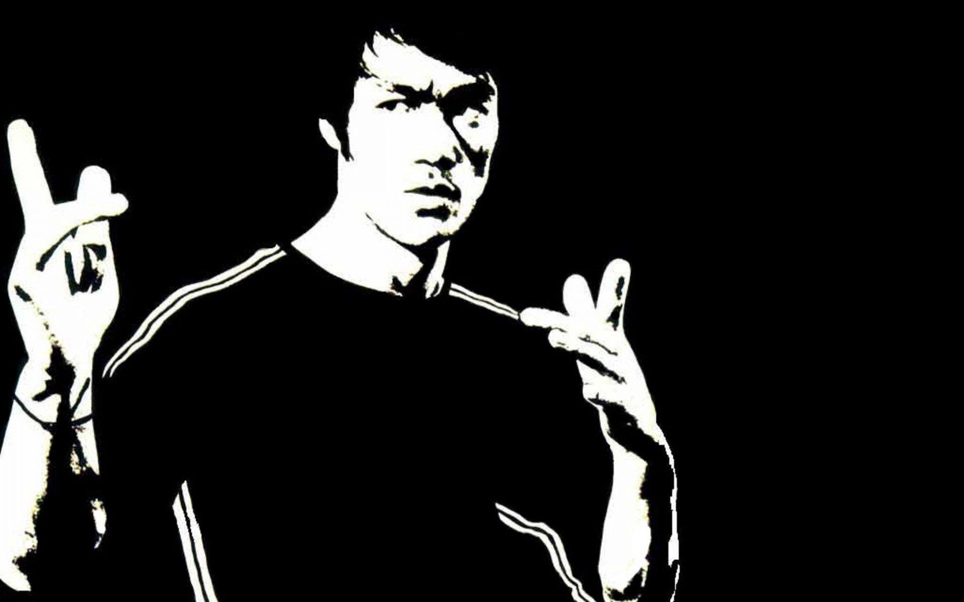 Bruce Lee Drawing Black and White
