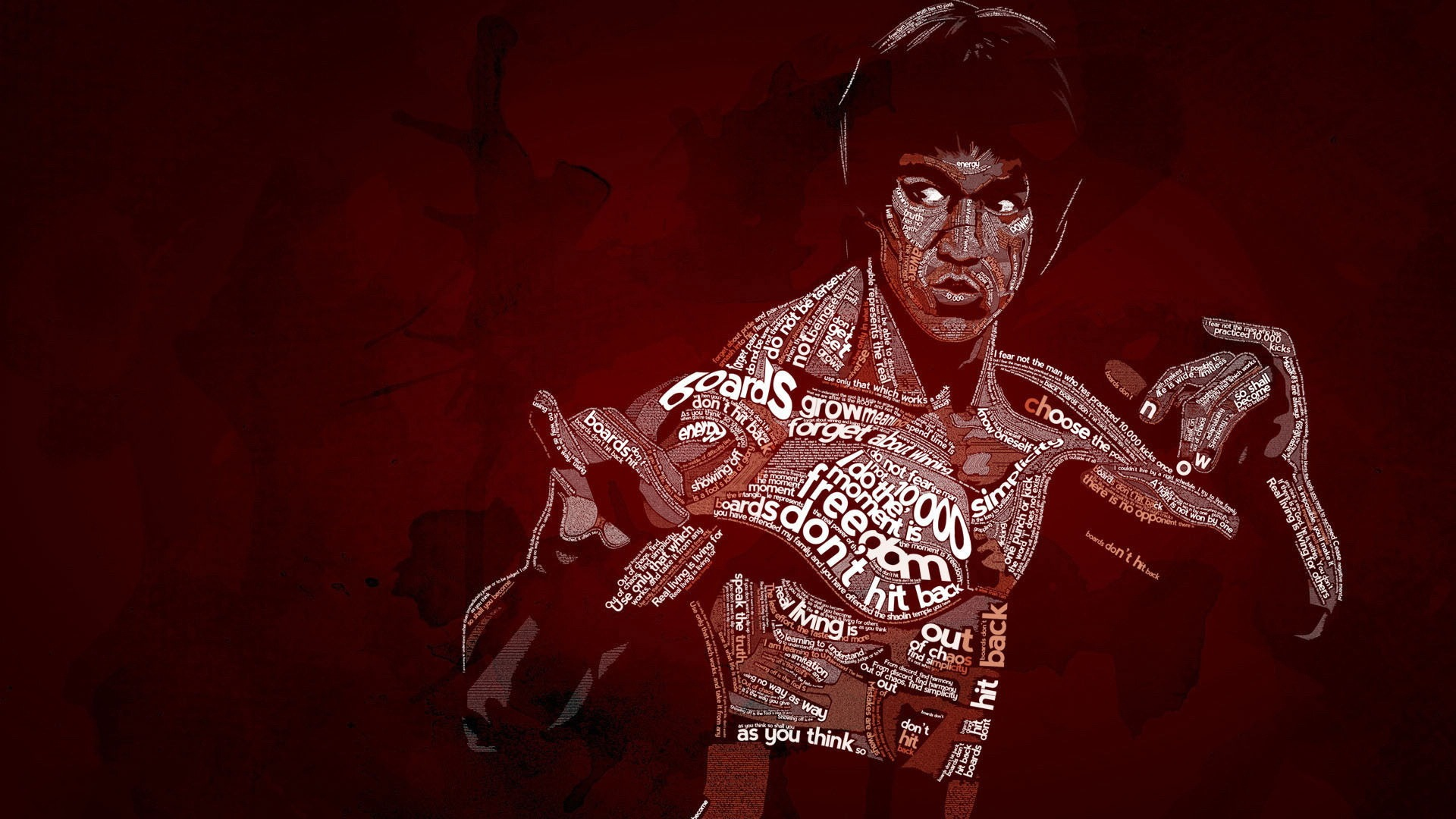 Bruce Lee Text Art Kung Fu Action Desktop Wallpaper 1920x1080