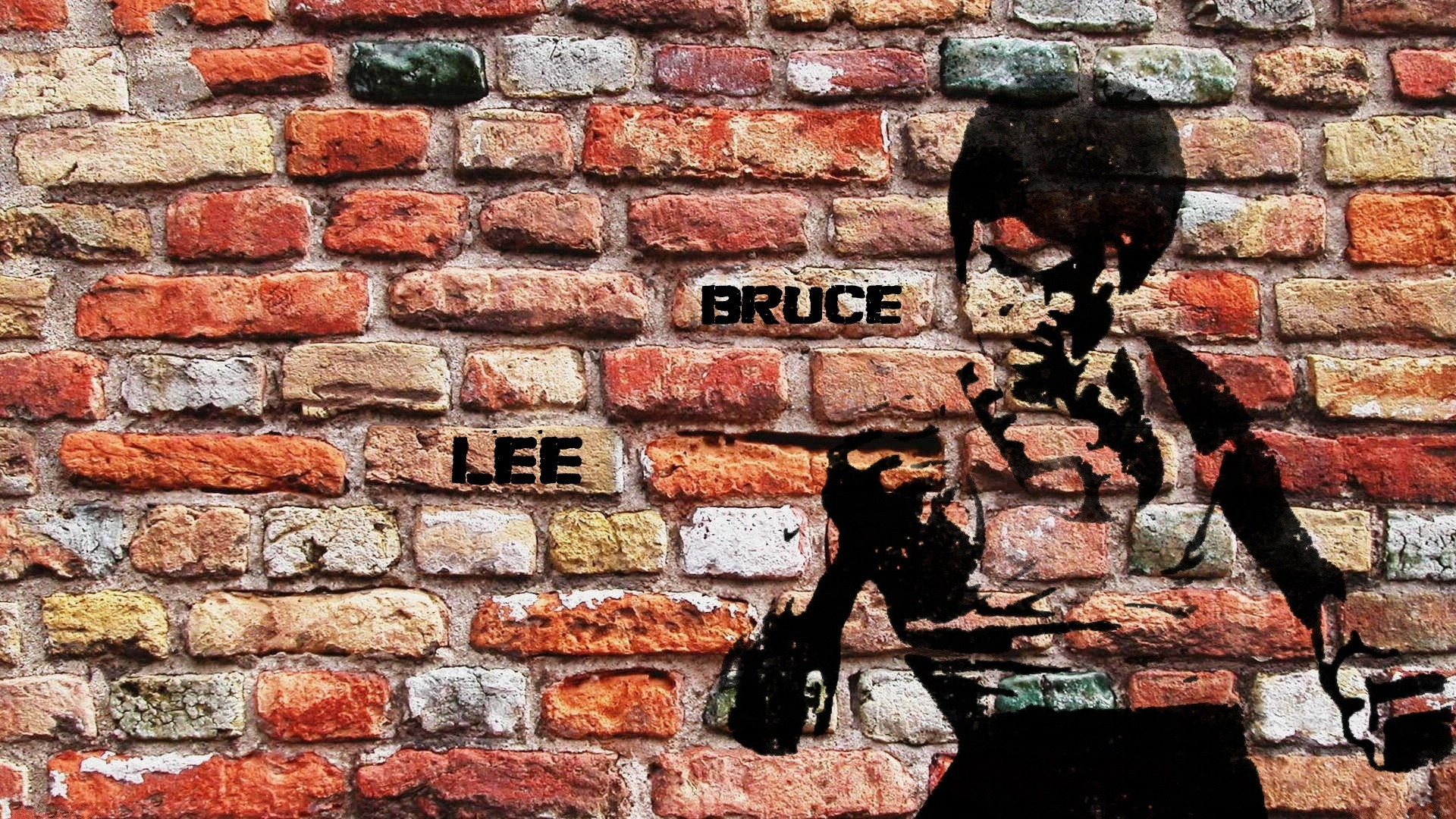 Bruce Lee Wall Drawing Full HD Desktop Wallpaper 1920x1080