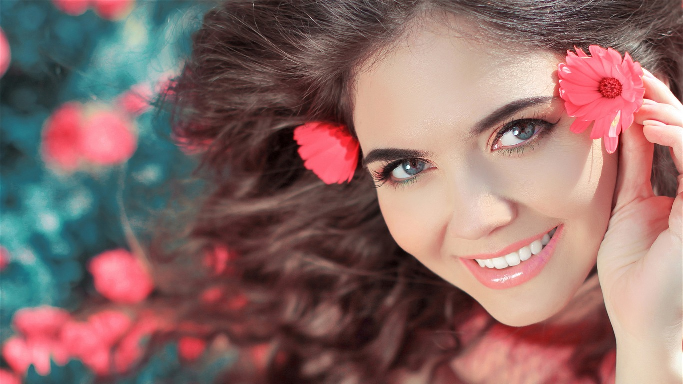 Cute Girl Red Flowers Desktop Backgrounds