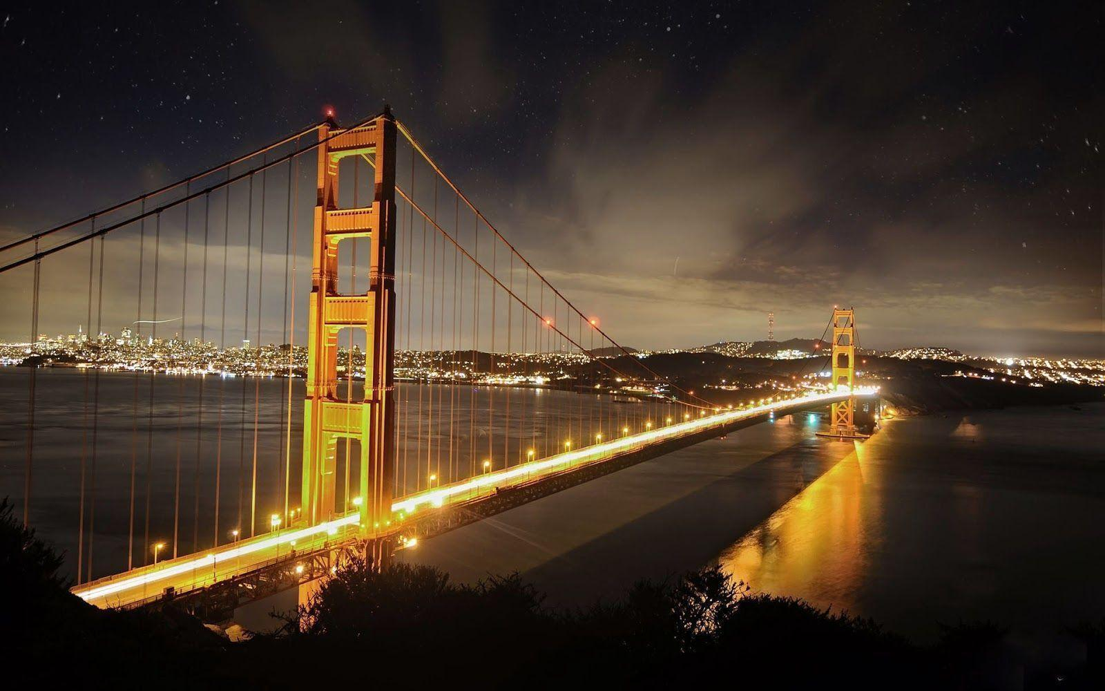 San Francisco City Night Scene Golden Gate Bridge Background 1920x1200