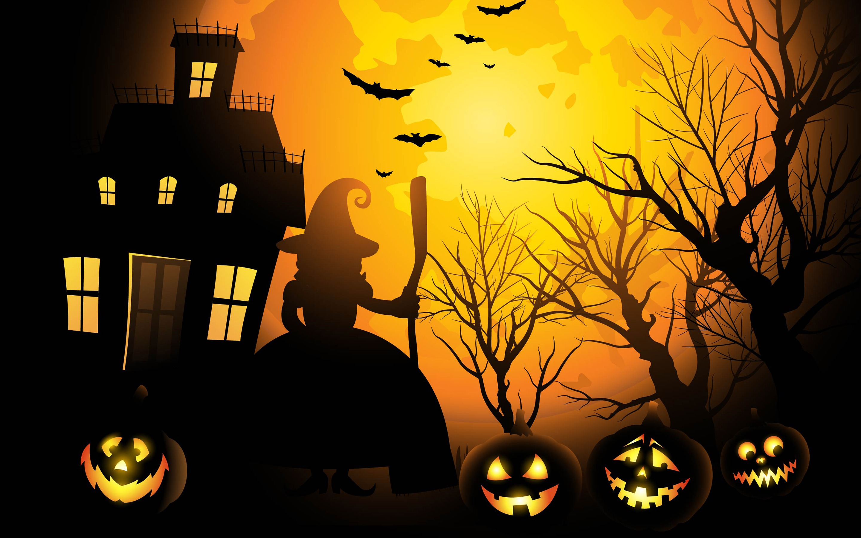 Halloween Black Pumpkin Witch House Night Wallpaper 2880x1800