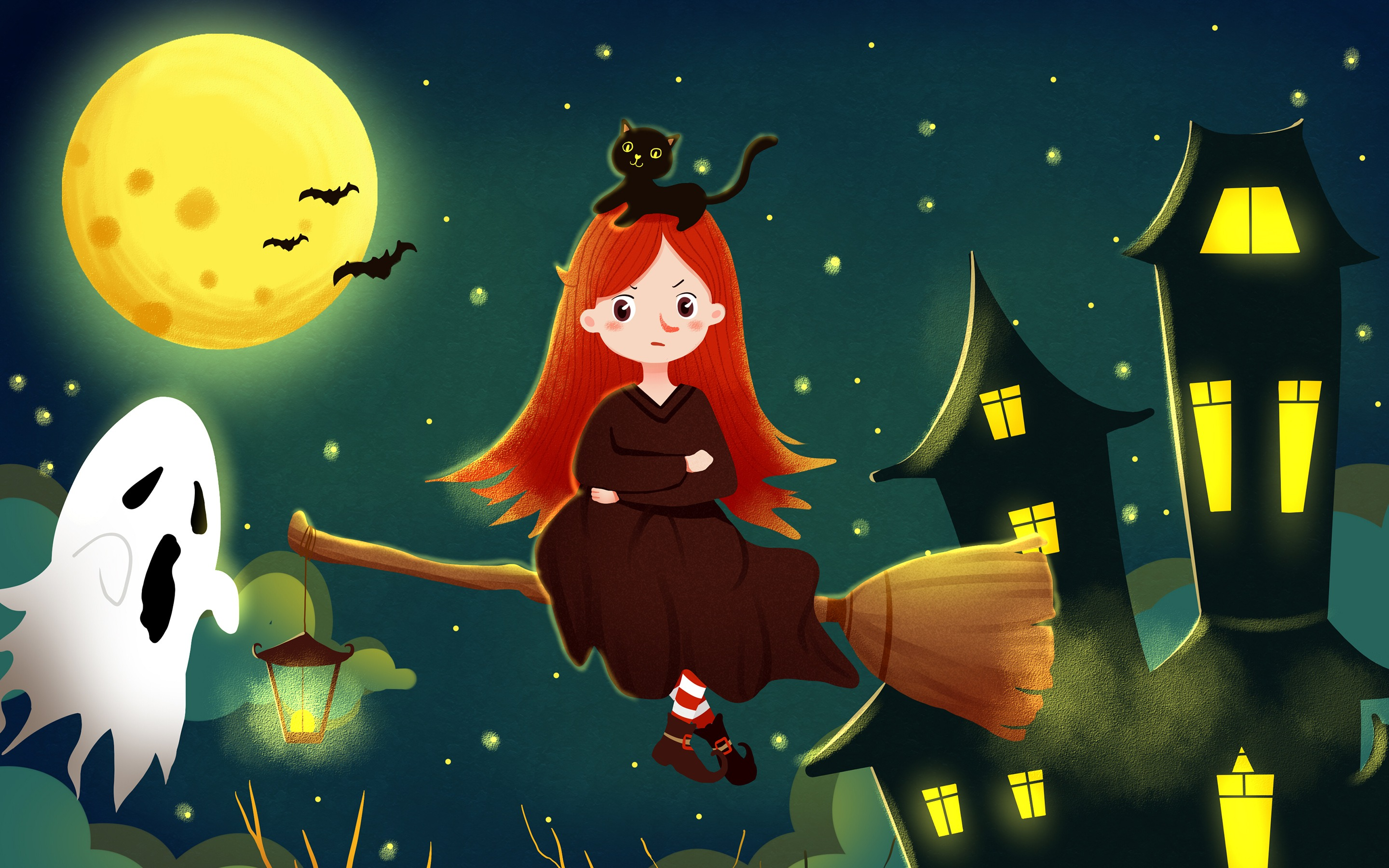 Halloween Little witch Cat Castle Night Wallpaper 2880x1800