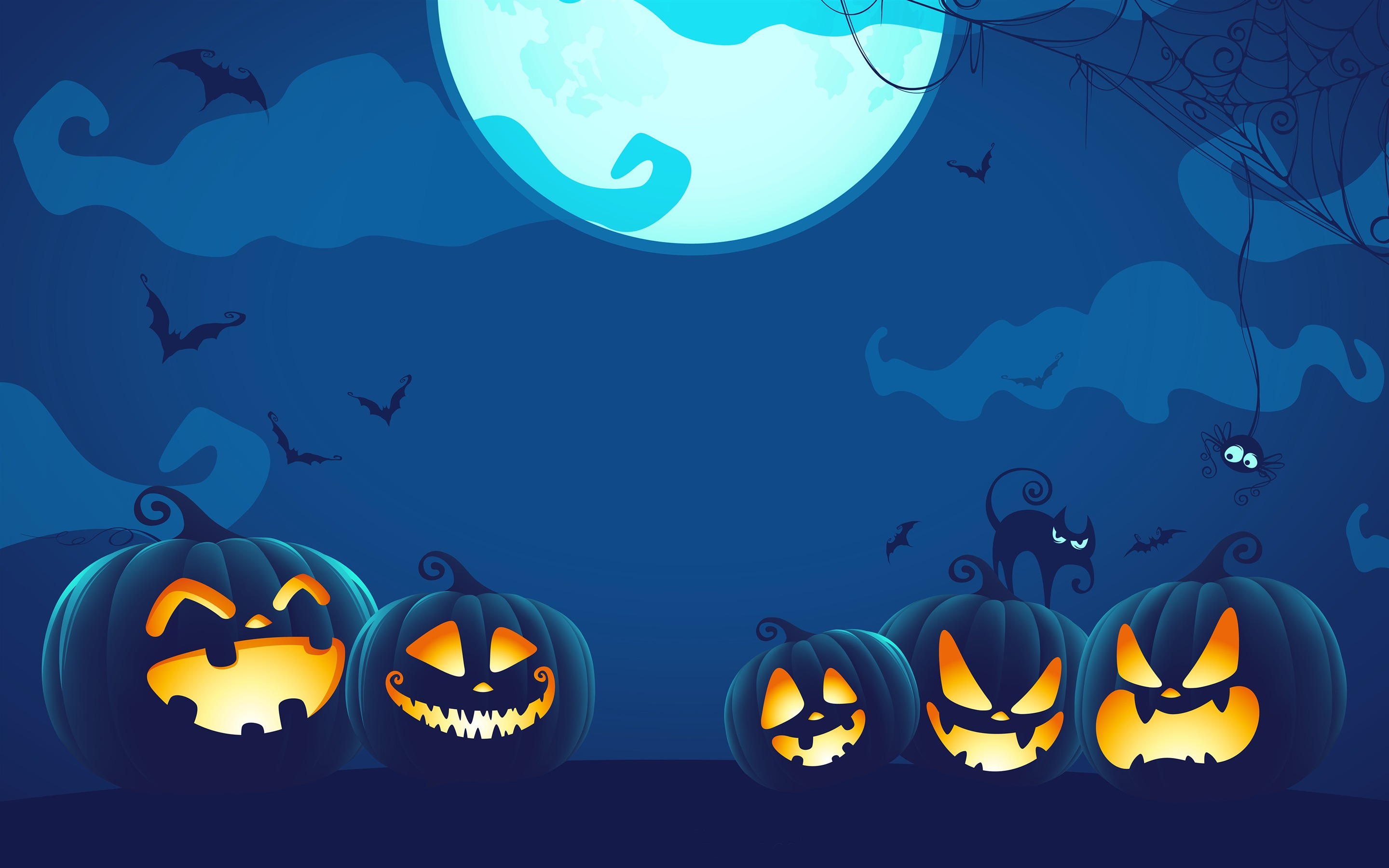 Halloween Pumpkin Light Night Wallpaper 2880x1800