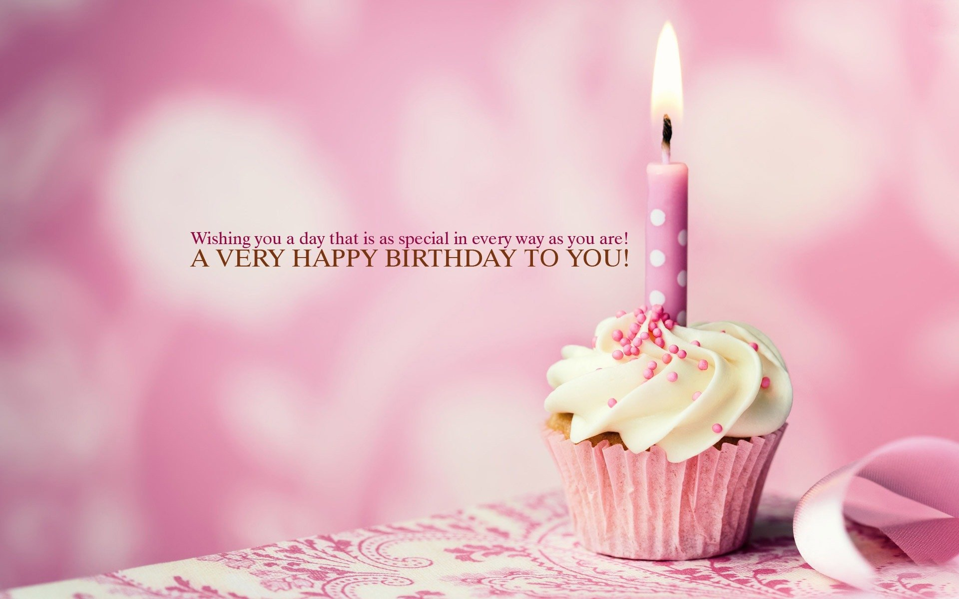 Happy Birthday Cup Cake Candle Wallpaper _1920x1200