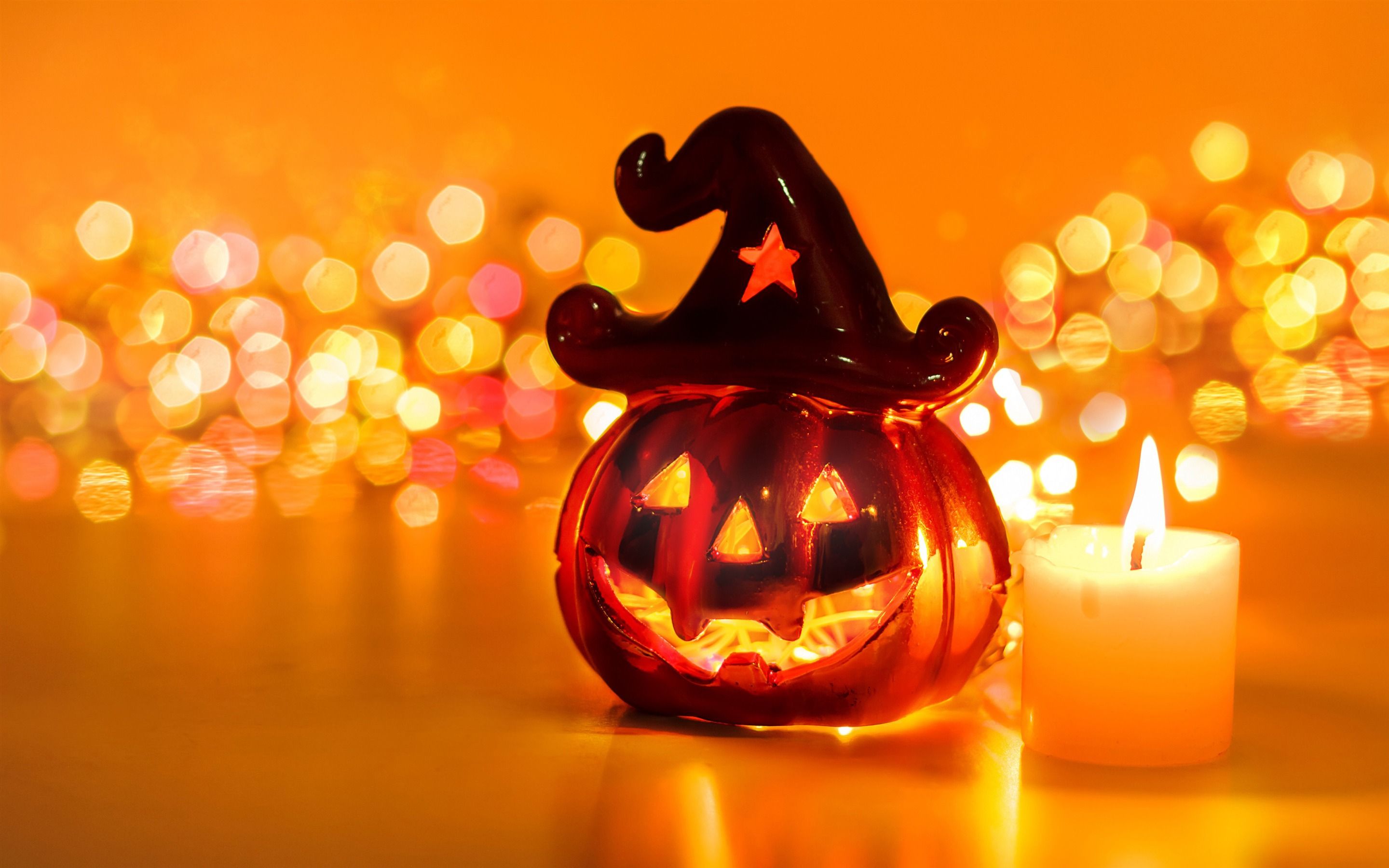 Happy Halloween Candle Pumpkin Retina Resolution Wallpaper 2880x1800