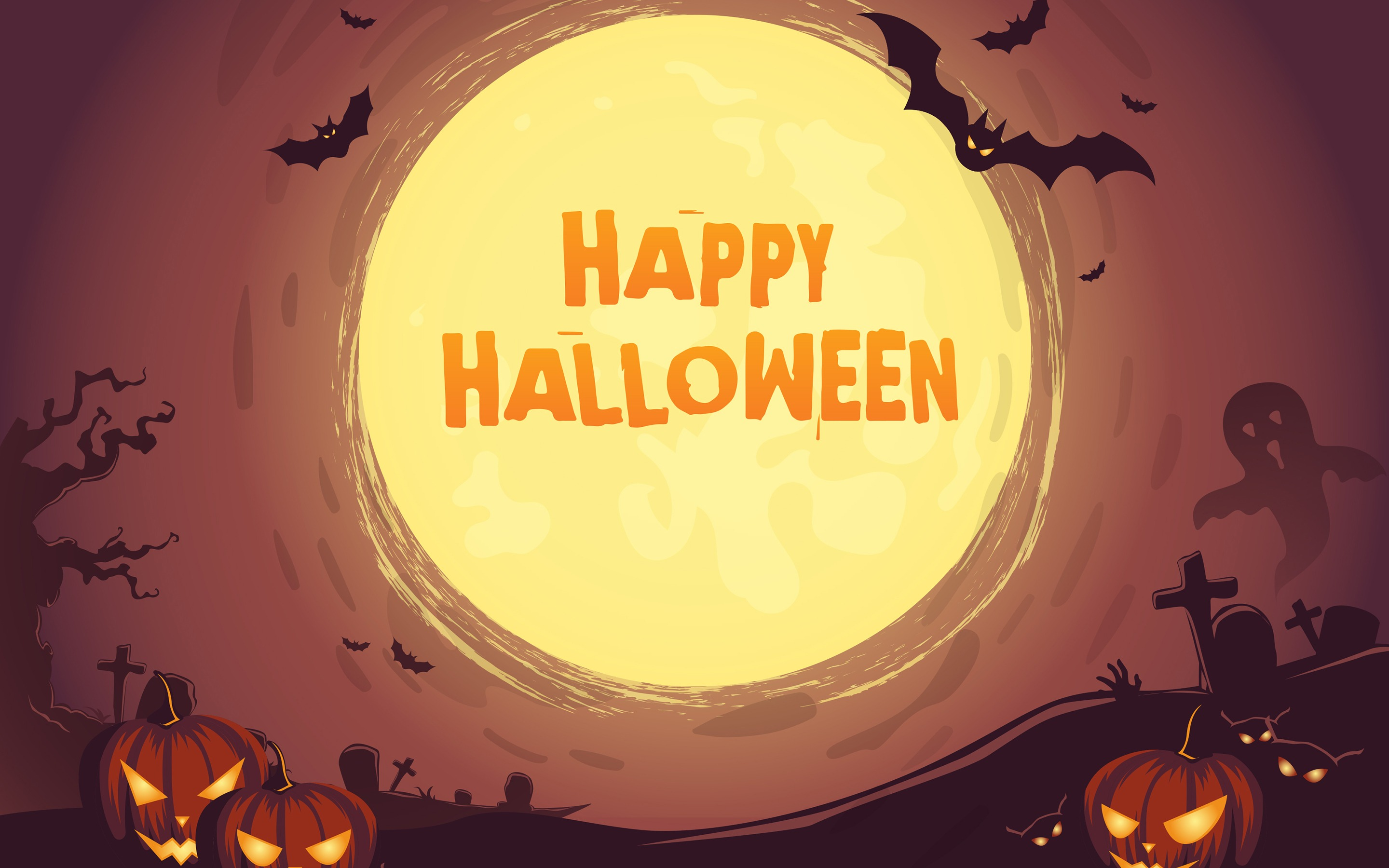 Happy Halloween Pumpkin Graveyard Bat Moon Retina Wallpaper 2880x1800