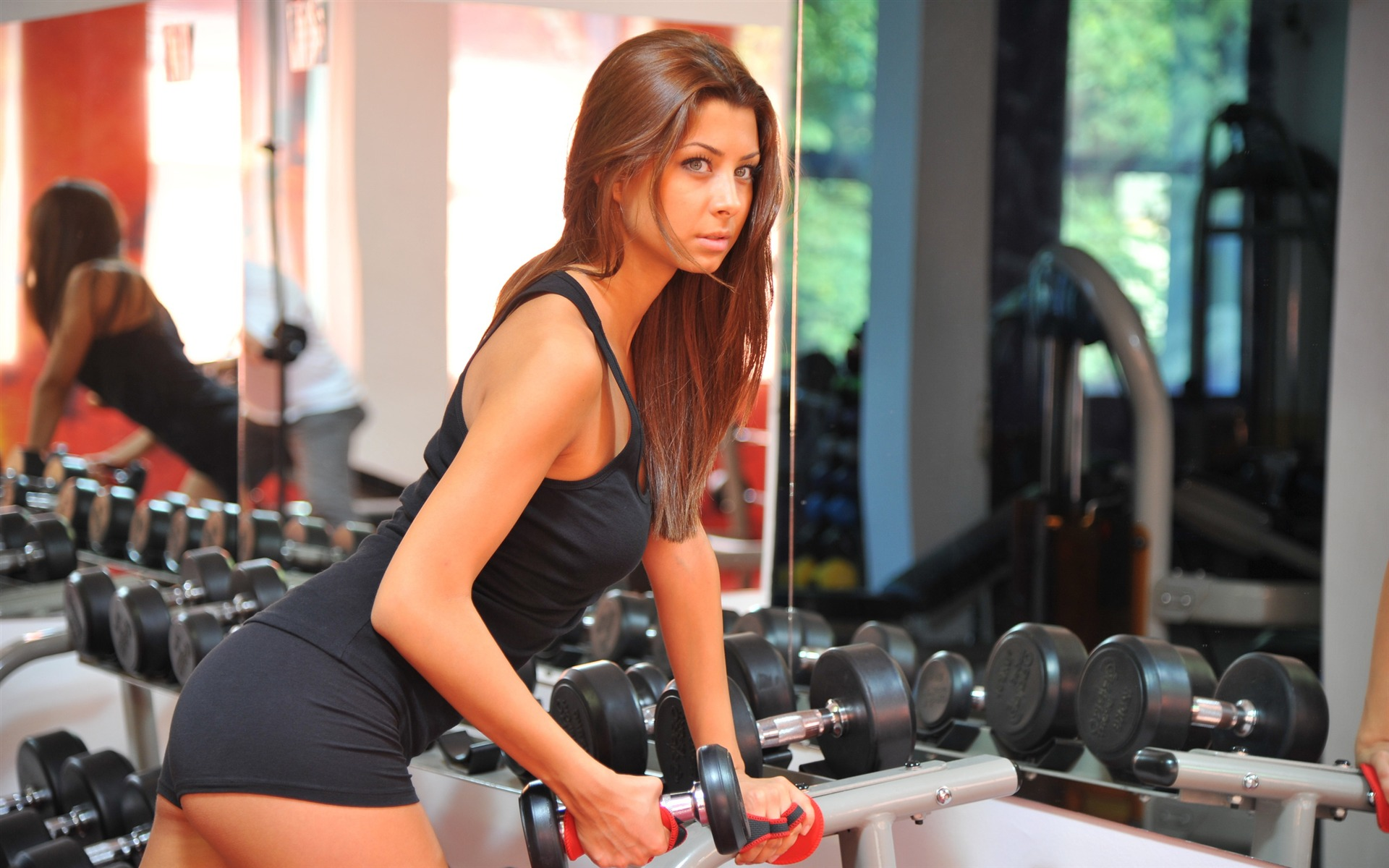 Hot Girl with dumbbell fitness sports photo wallpaper 1920x1200