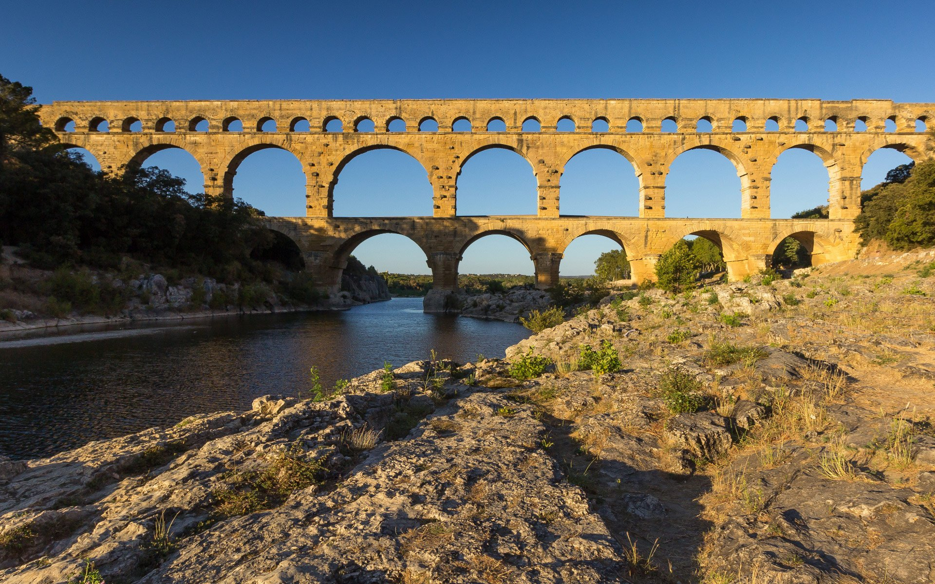 Pont Du Gard Aqueduct over Gardon River in France HD Wallpapers