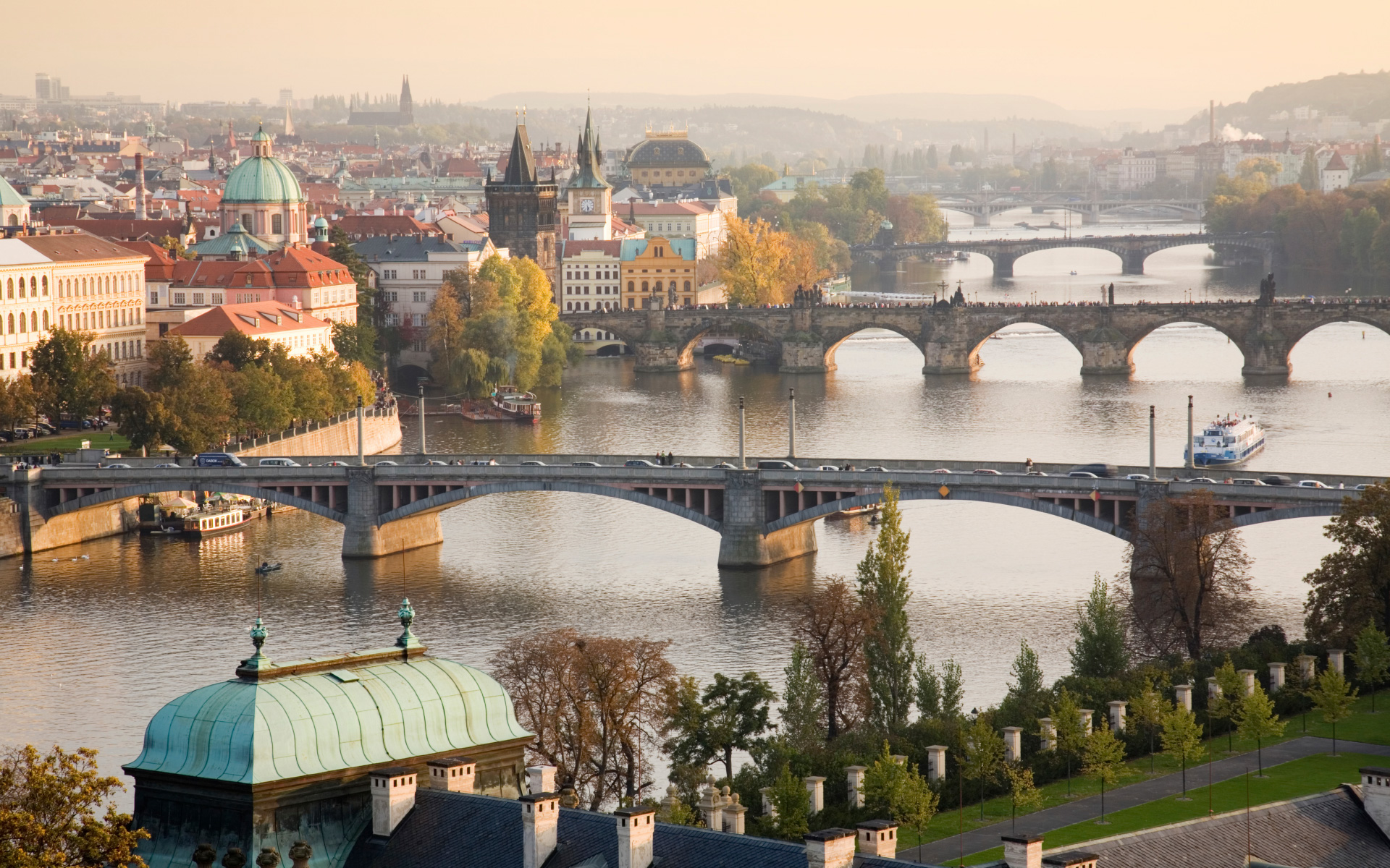 Prague Cityscape with the Vltava River Bridge Photos HD Wallpapers