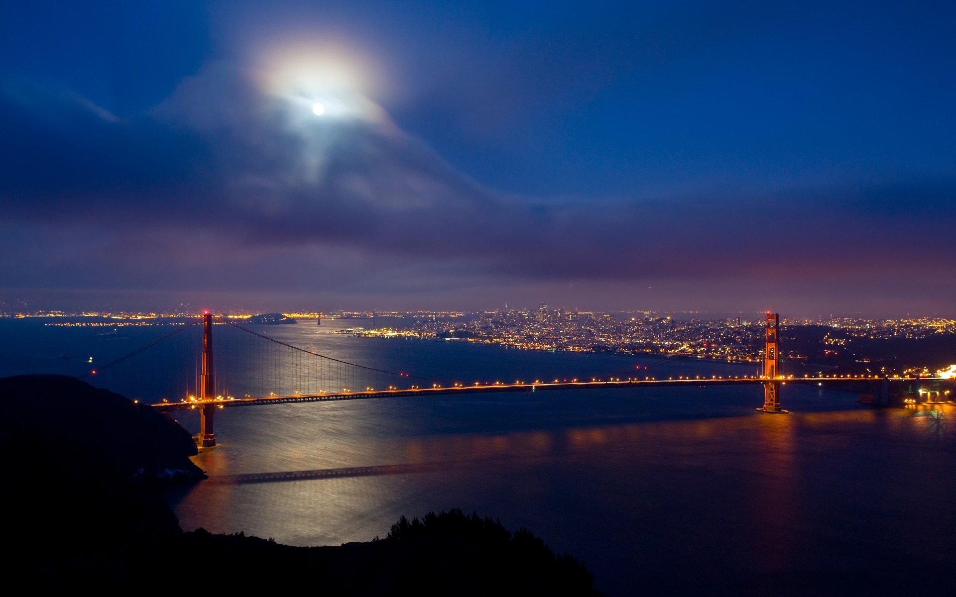 San Francisco Golden Gate Bridge City Night View Wallpaper 1920x1200