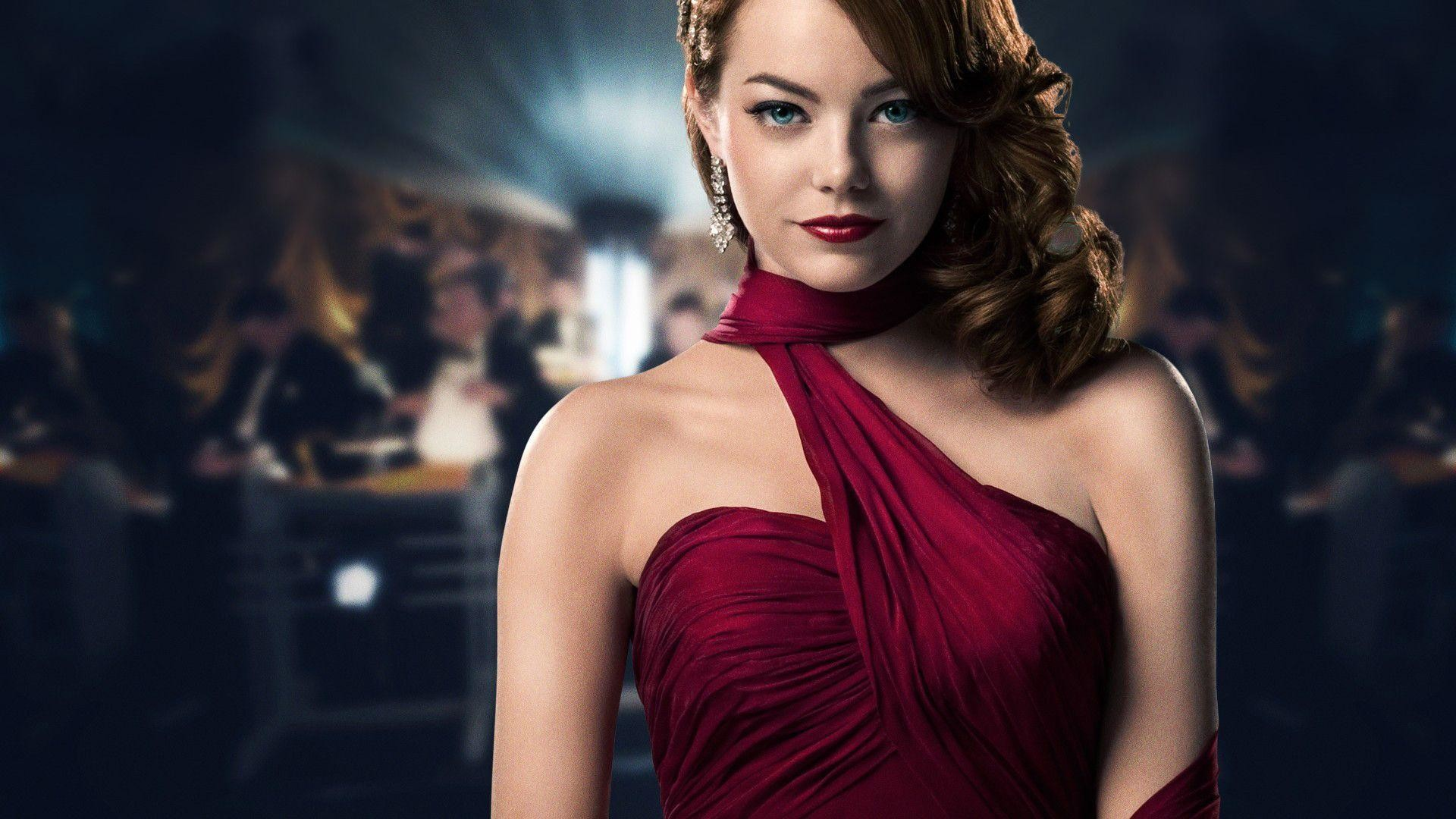 Emma Stone Red Dress Wallpaper
