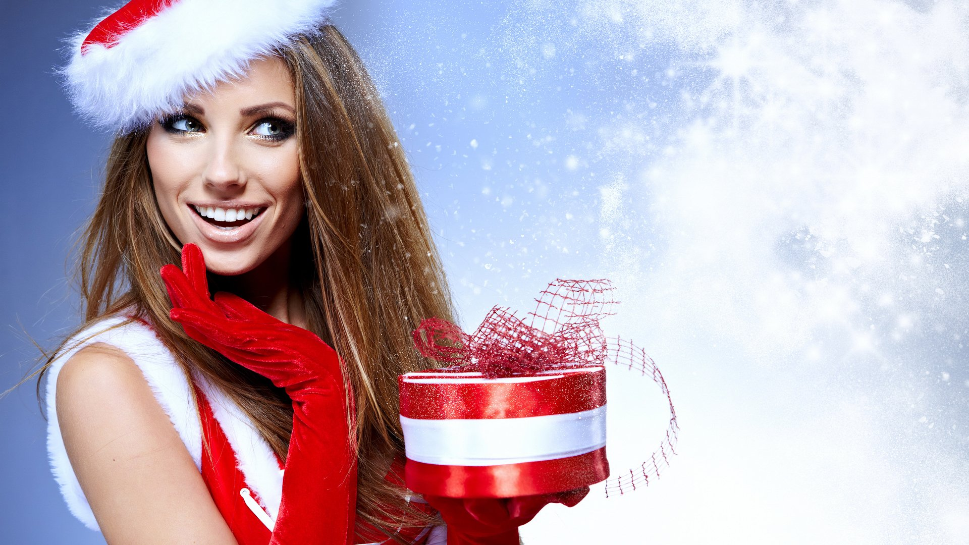 Beautiful Girl with Christmas Gift HD Wallpaper 1920x1080