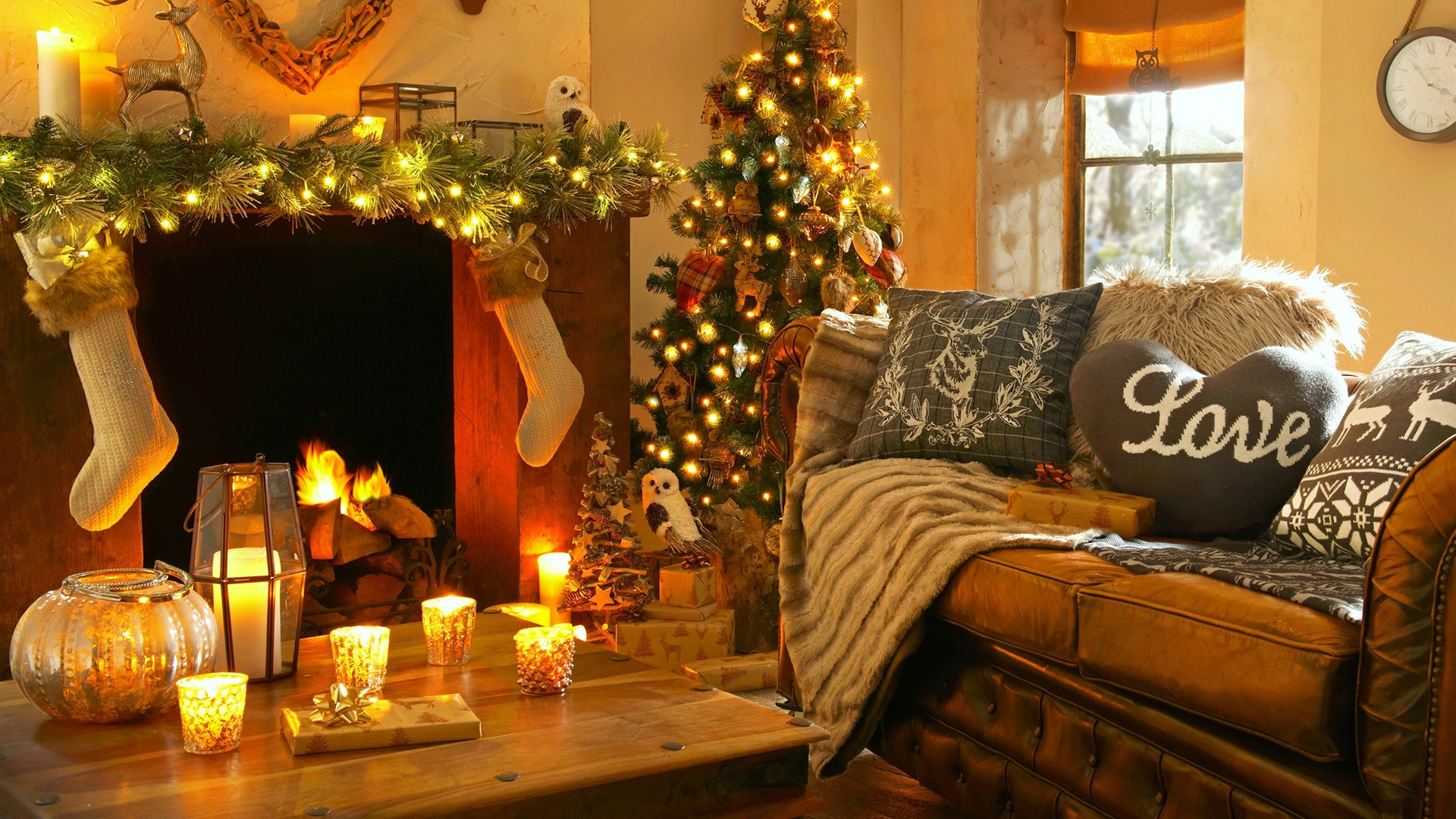 Christmas Day House Interior Decoration Background