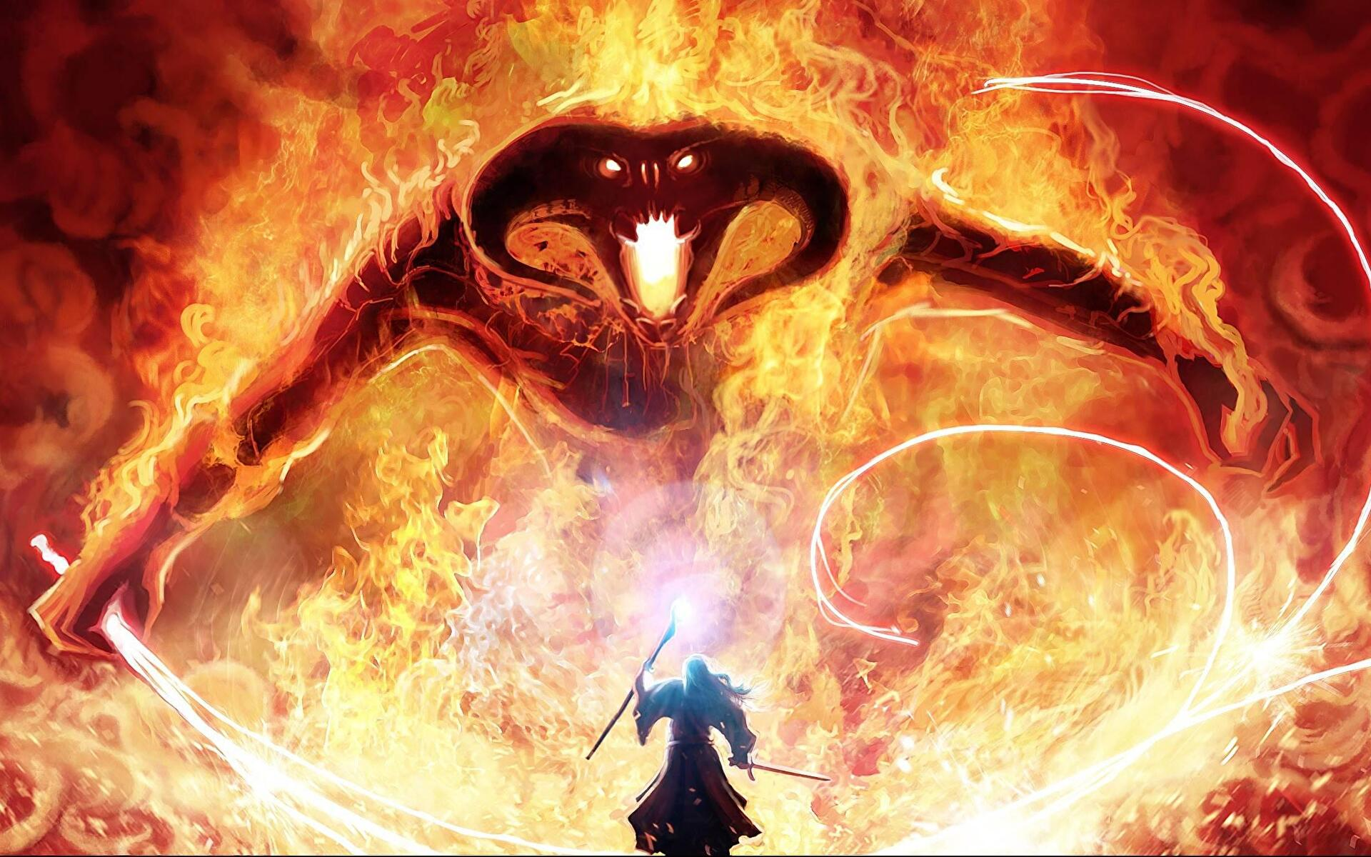 Gandalf Vs Balrog - HD Wallpaper