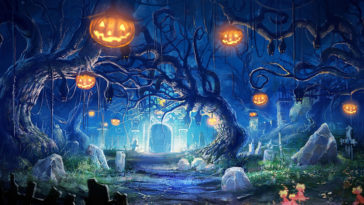 Halloween Night - Pumpkin Graveyard Bat Wallpapers HD