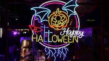 Happy Halloween Pumpkin Lantern Neon Light 1920x1080
